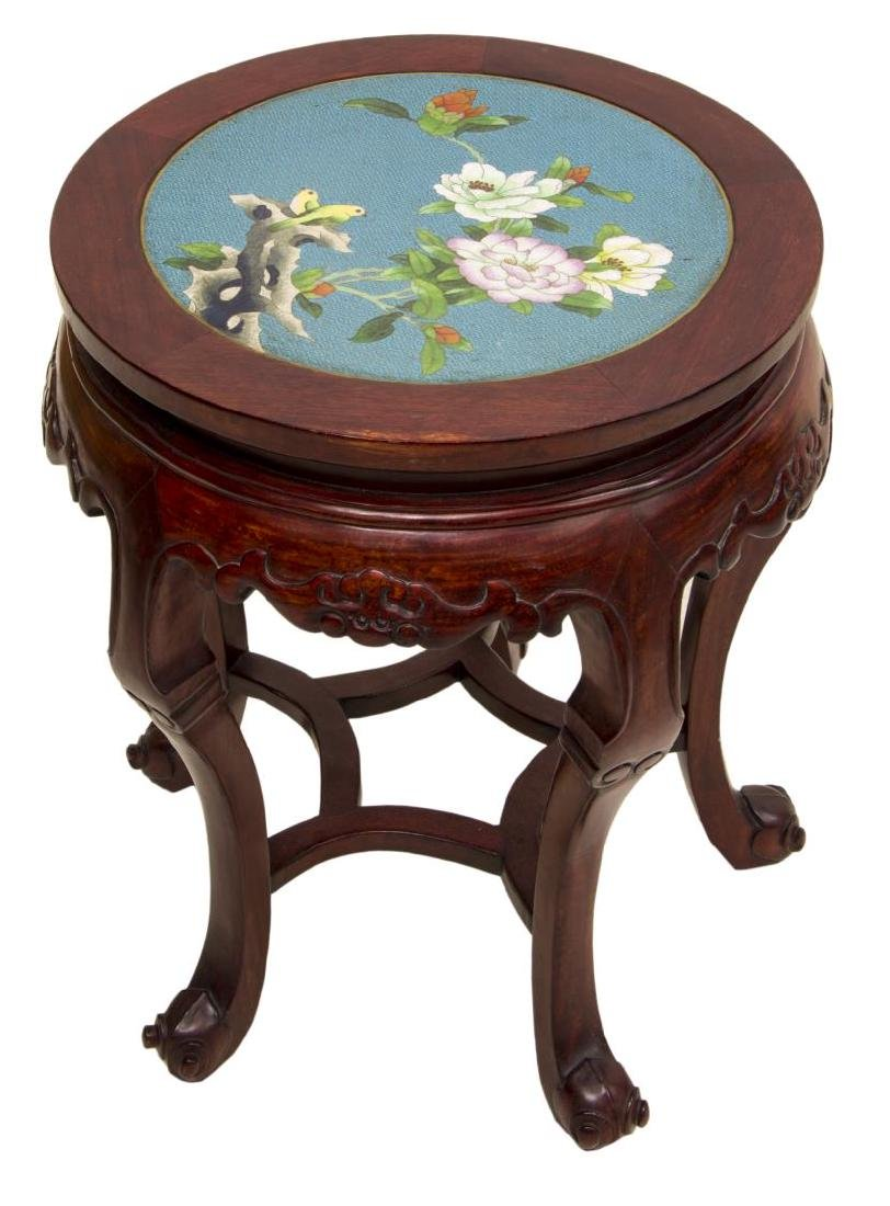 CHINESE ROSEWOOD & CLOISONNE SIDE TABLE