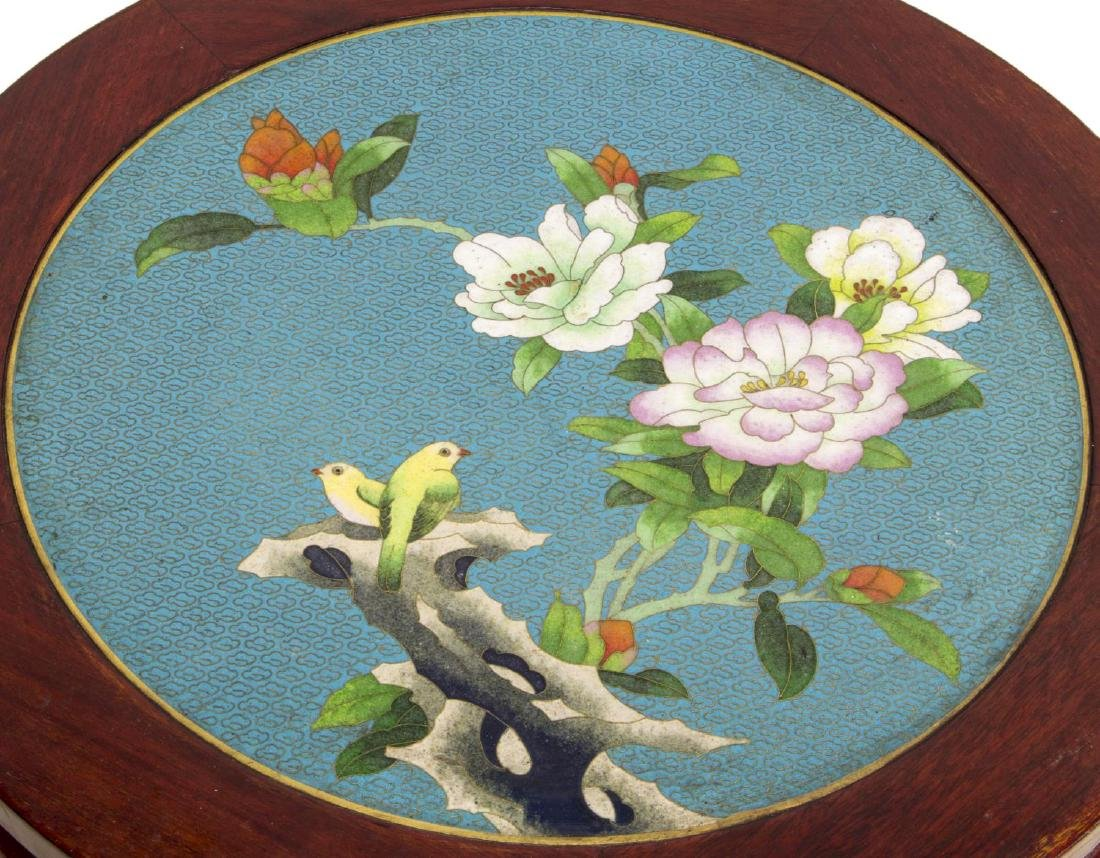 CHINESE ROSEWOOD & CLOISONNE SIDE TABLE - 2