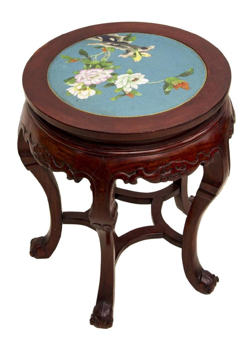CHINESE ROSEWOOD & CLOISONNE SIDE TABLE - 3
