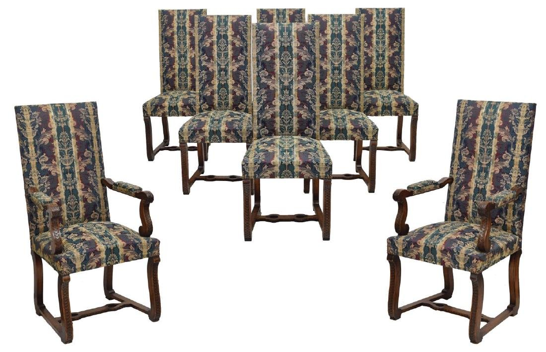 (8) SPANISH BAROQUE STYLE OAK DINING CHAIRS