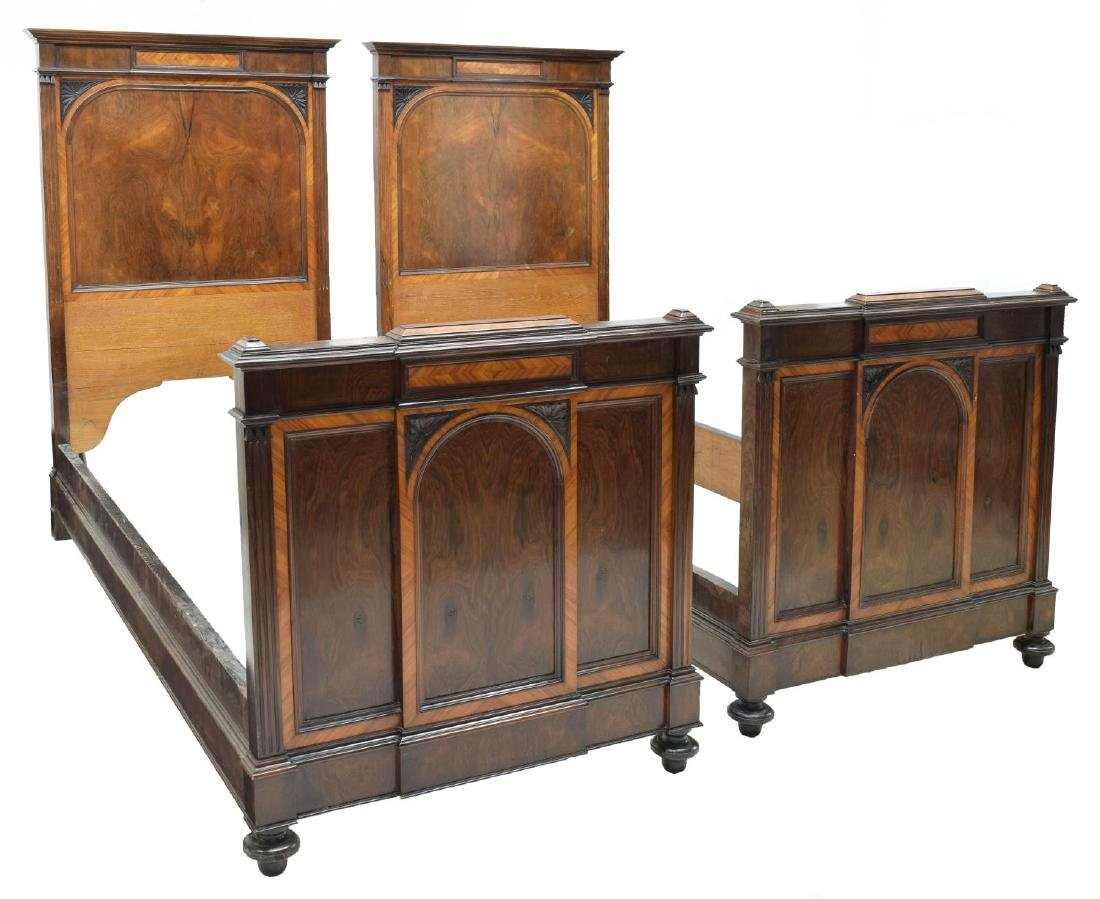 (PAIR) ITALIAN EMPIRE STYLE ROSEWOOD BEDS