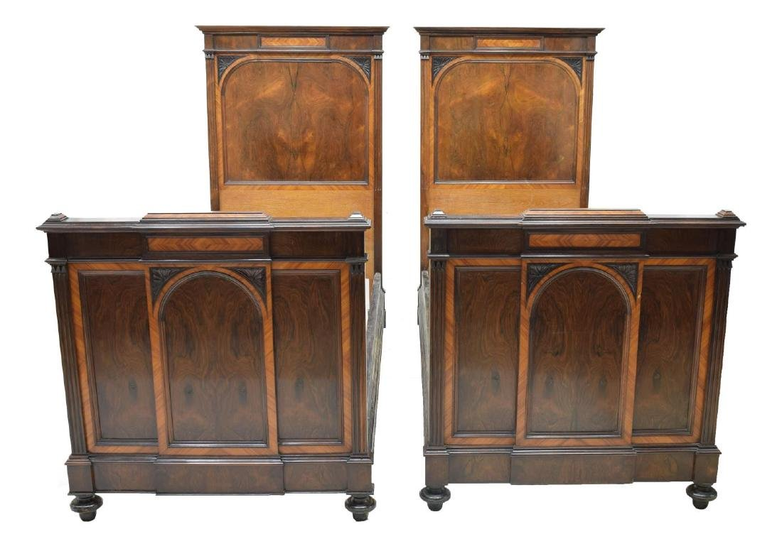 (PAIR) ITALIAN EMPIRE STYLE ROSEWOOD BEDS - 2