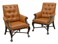 2 MAITLAND SMITH LEATHER BUTTON BACK ARMCHAIRS