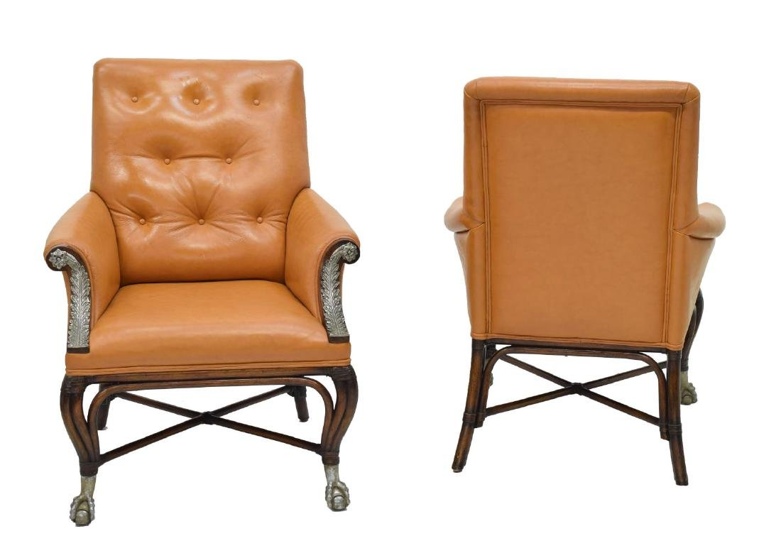(2) MAITLAND SMITH LEATHER BUTTON BACK ARMCHAIRS - 2