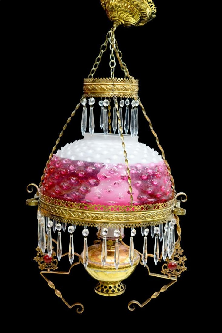 VICTORIAN CRANBERRY HOBNAIL HANGING LIBRARY LAMP