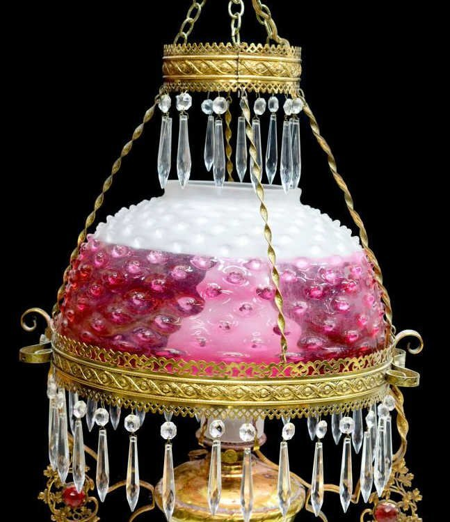 VICTORIAN CRANBERRY HOBNAIL HANGING LIBRARY LAMP - 2
