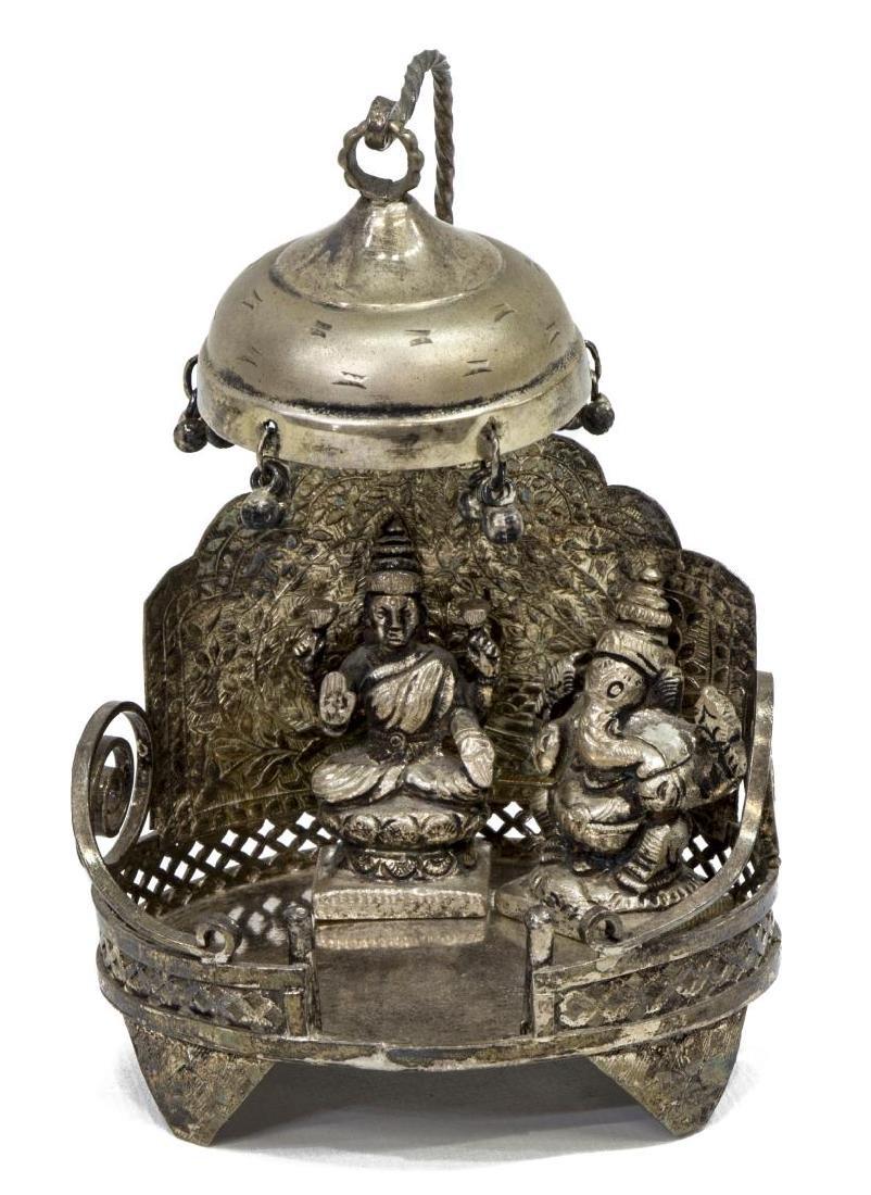 INDIAN HINDU SILVER SHRINE TO GANESHA & LAXMI - 2