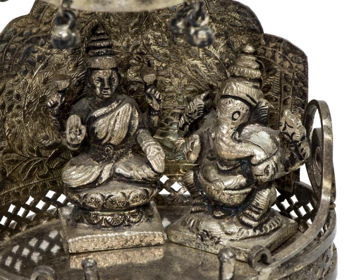INDIAN HINDU SILVER SHRINE TO GANESHA & LAXMI - 3