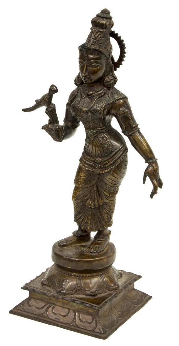 INDIAN PATINATED BRONZE GODDESS FIGURE MEENAKSHI