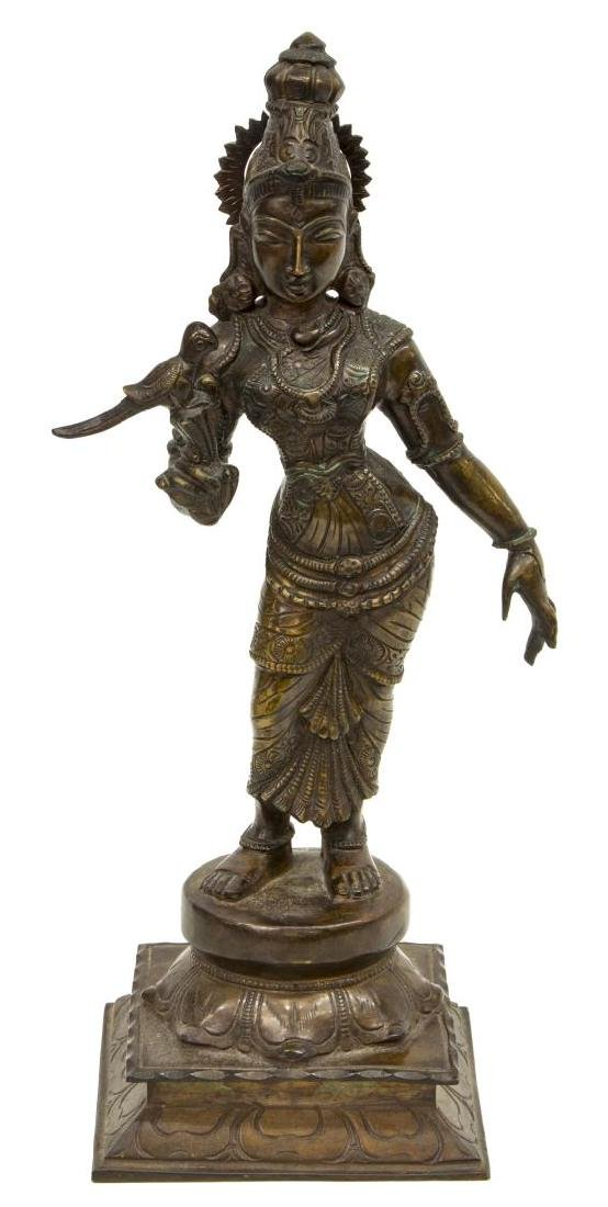 INDIAN PATINATED BRONZE GODDESS FIGURE MEENAKSHI - 2