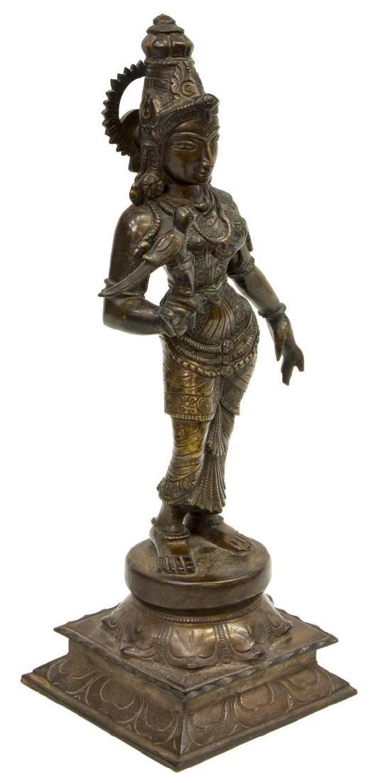 INDIAN PATINATED BRONZE GODDESS FIGURE MEENAKSHI - 3