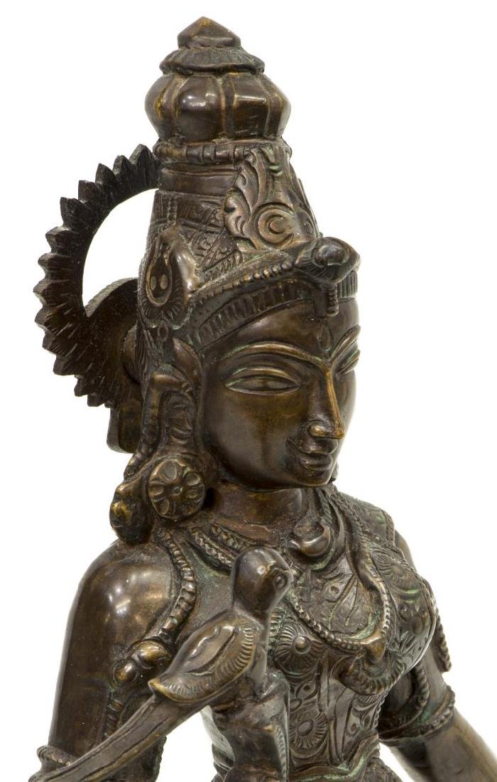 INDIAN PATINATED BRONZE GODDESS FIGURE MEENAKSHI - 4