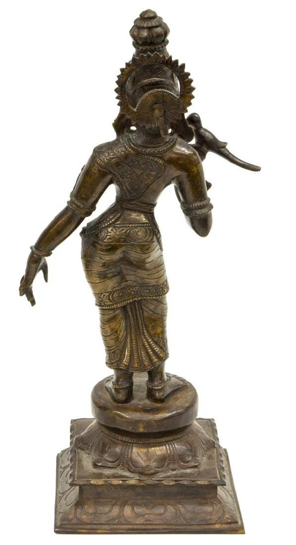 INDIAN PATINATED BRONZE GODDESS FIGURE MEENAKSHI - 5