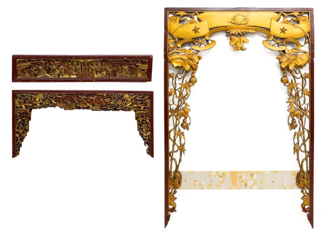 (3) CHINESE RED LACQUER & GILT ELEMENTS