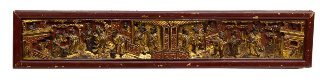 (3) CHINESE RED LACQUER & GILT ELEMENTS - 3