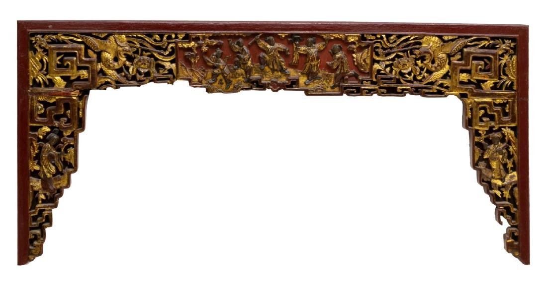 (3) CHINESE RED LACQUER & GILT ELEMENTS - 4