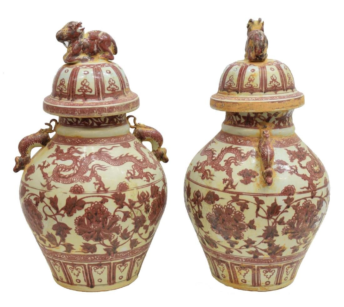 (2) CHINESE IRON RED DRAGON-HANDLE PORCELAIN JARS - 2