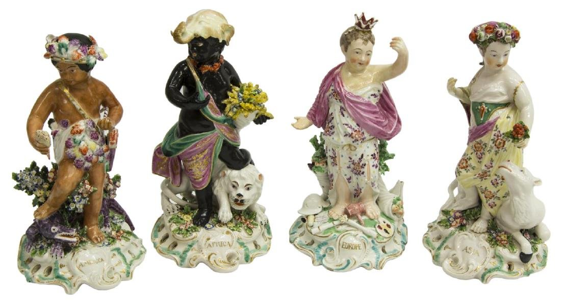 (4) DERBY PORCELAIN ALLEGORICAL FIGURES CONTINENTS