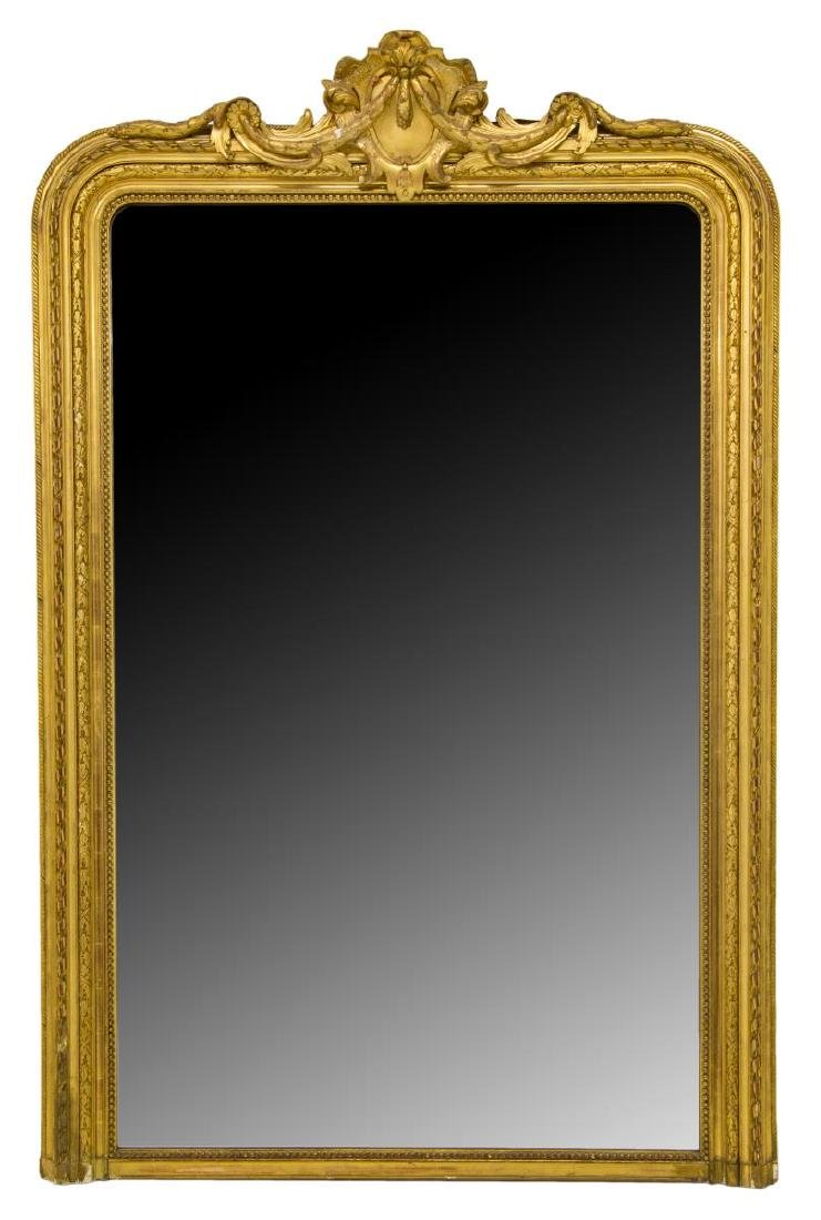 FRENCH ANTIQUE LOUIS XV GOLD LEAF MIRROR
