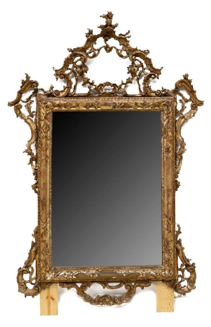 VENETIAN CARVED & SILVERED WALL MIRROR