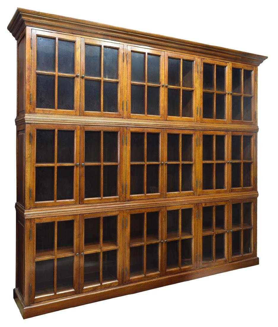"""LARGE THREE STACK OAK LIBRARY BOOKCASE, 85""""H, 96""""W"""