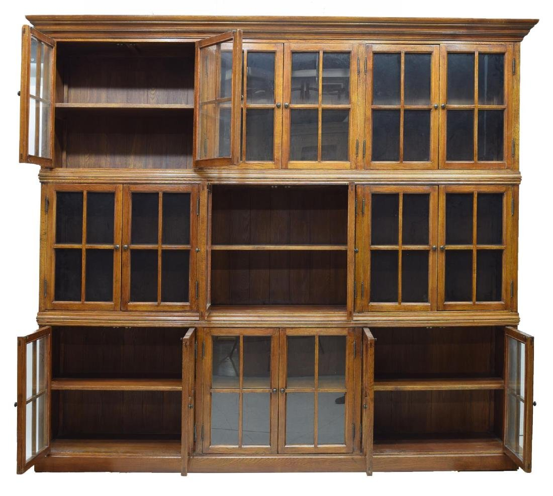 """LARGE THREE STACK OAK LIBRARY BOOKCASE, 85""""H, 96""""W - 2"""