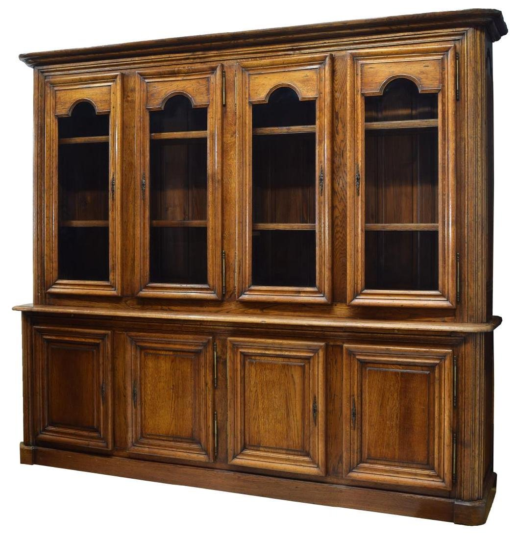 MONUMENTAL FRENCH PROVINCIAL OAK BOOKCASE