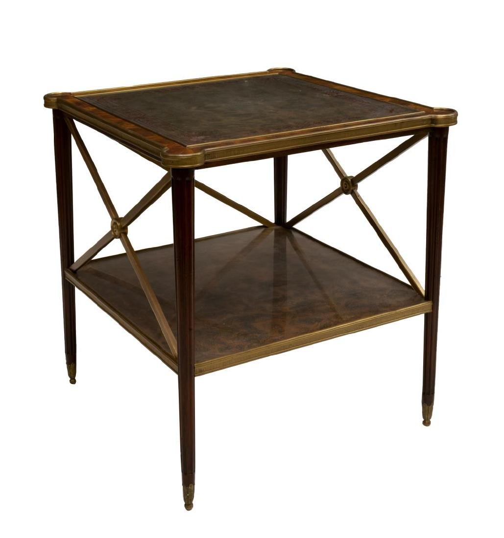 THEODORE ALEXANDER GILT METAL TRIMMED SIDE TABLE
