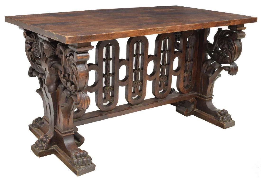 EXCEPTIONAL RENAISSANCE REVIVAL LIBRARY TABLE