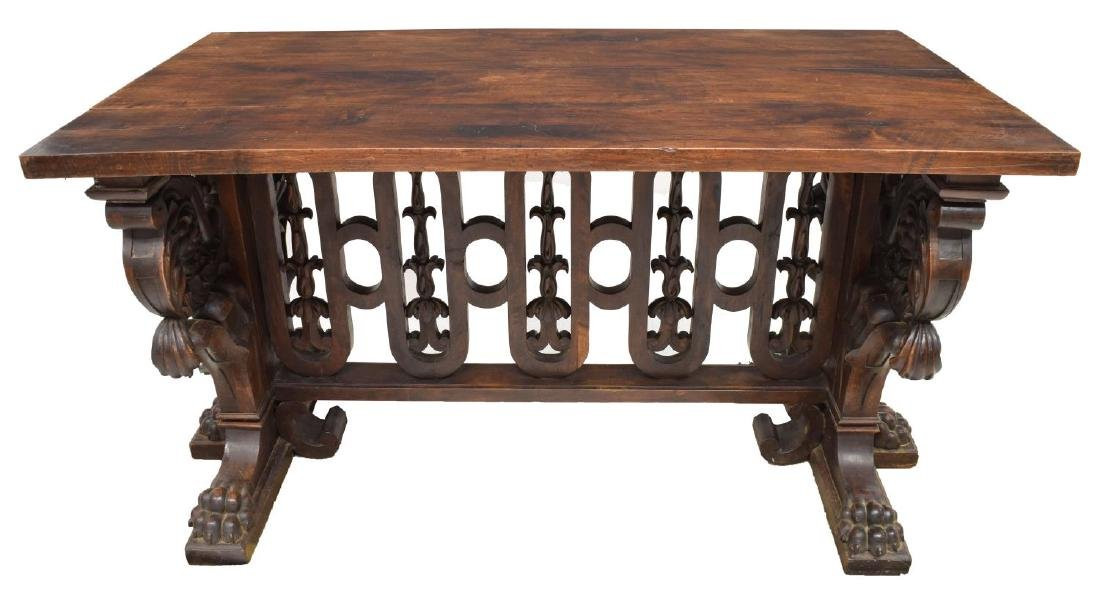 EXCEPTIONAL RENAISSANCE REVIVAL LIBRARY TABLE - 2