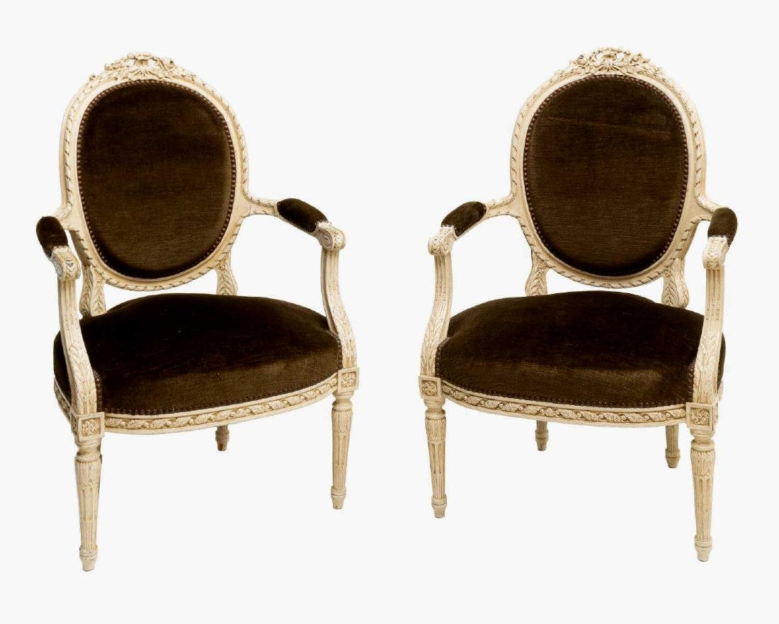 (2) LOUIS XVI STYLE UPHOLSTERED FAUTEUIL ARMCHAIRS