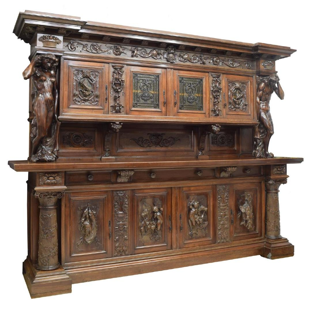 """MONUMENTAL CARVED SIDEBOARD, 36""""H FIGURES, ITALY"""