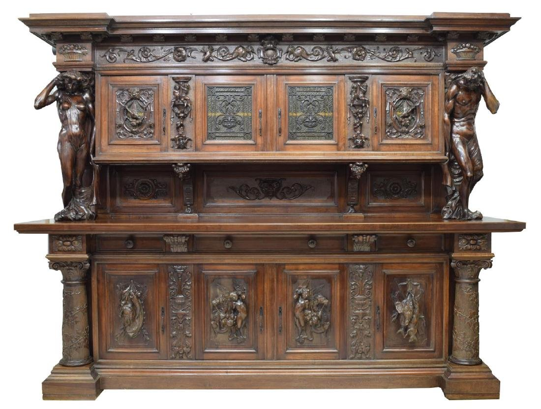 """MONUMENTAL CARVED SIDEBOARD, 36""""H FIGURES, ITALY - 2"""