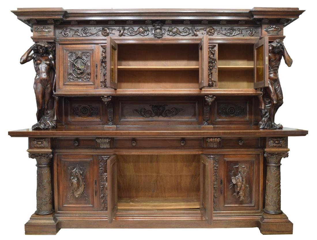 """MONUMENTAL CARVED SIDEBOARD, 36""""H FIGURES, ITALY - 3"""