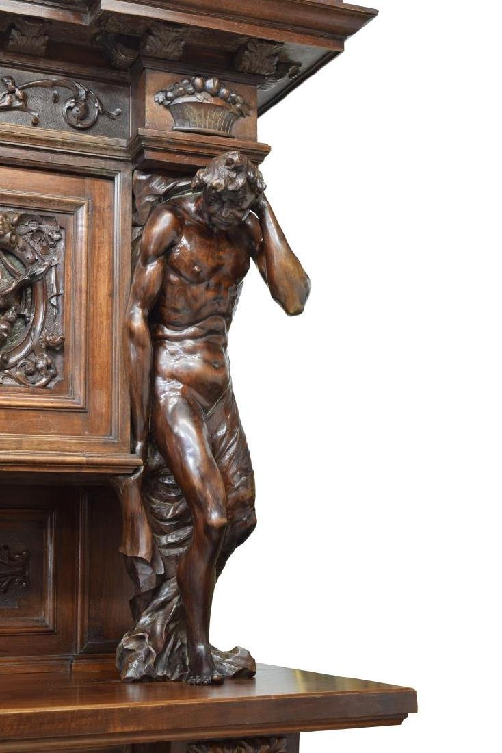 """MONUMENTAL CARVED SIDEBOARD, 36""""H FIGURES, ITALY - 5"""