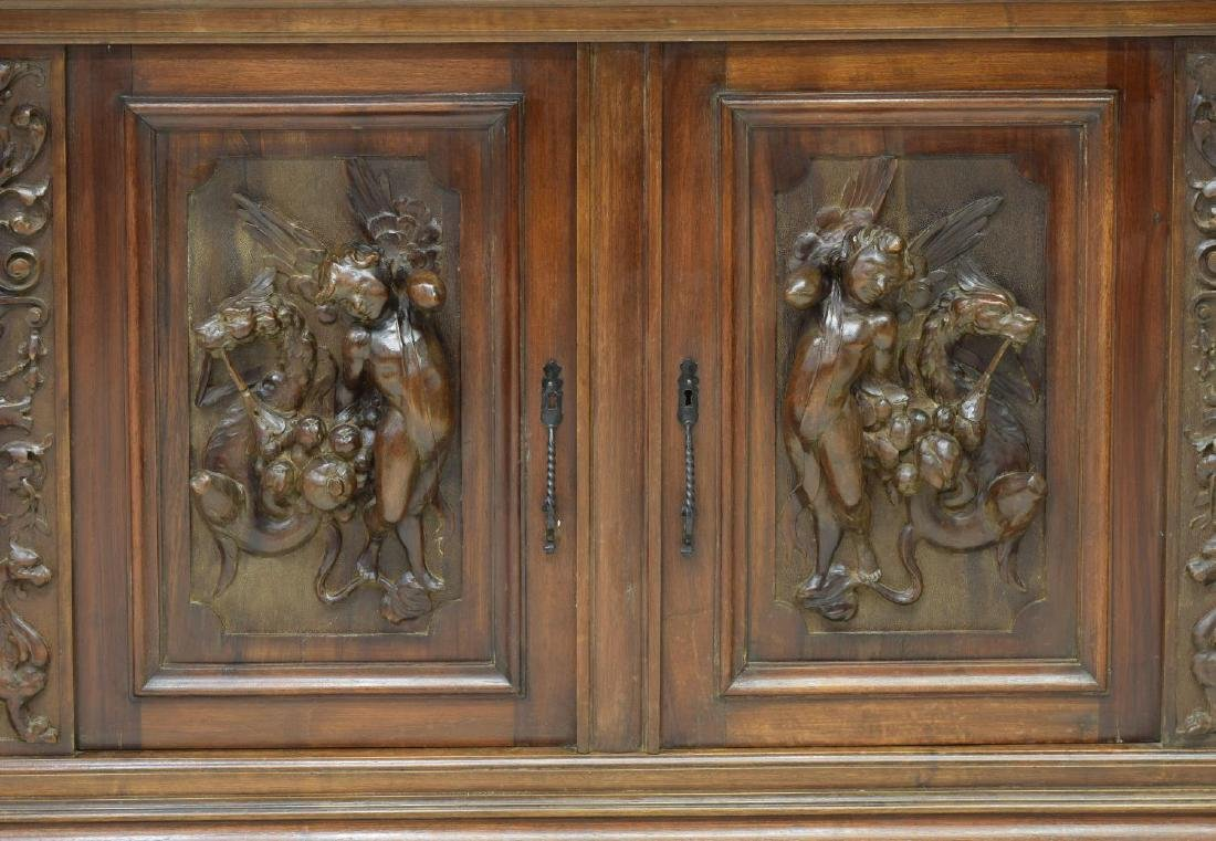 """MONUMENTAL CARVED SIDEBOARD, 36""""H FIGURES, ITALY - 7"""