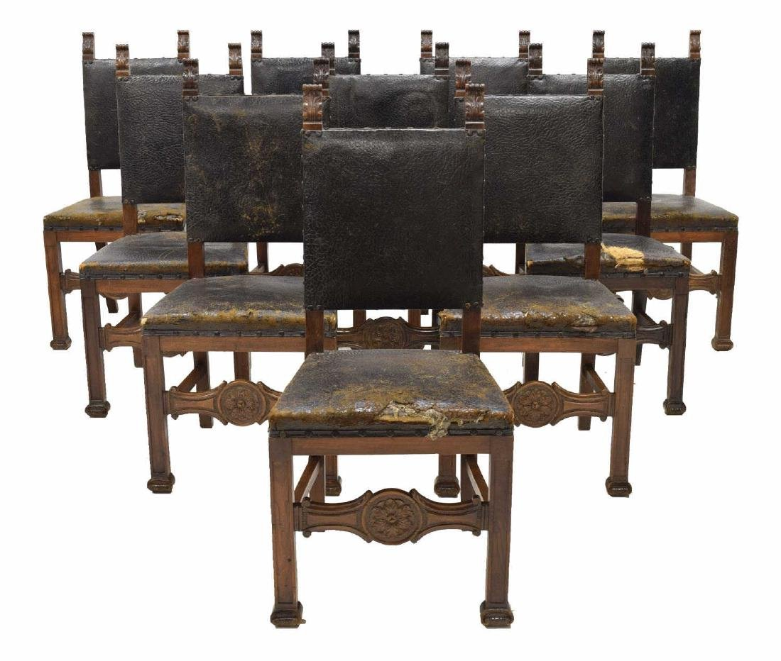 10) RENAISSANCE REVIVAL LEATHER WALNUT SIDE CHAIRS