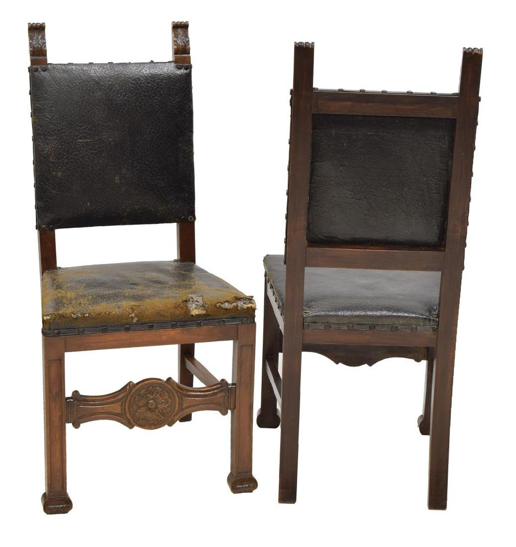10) RENAISSANCE REVIVAL LEATHER WALNUT SIDE CHAIRS - 2