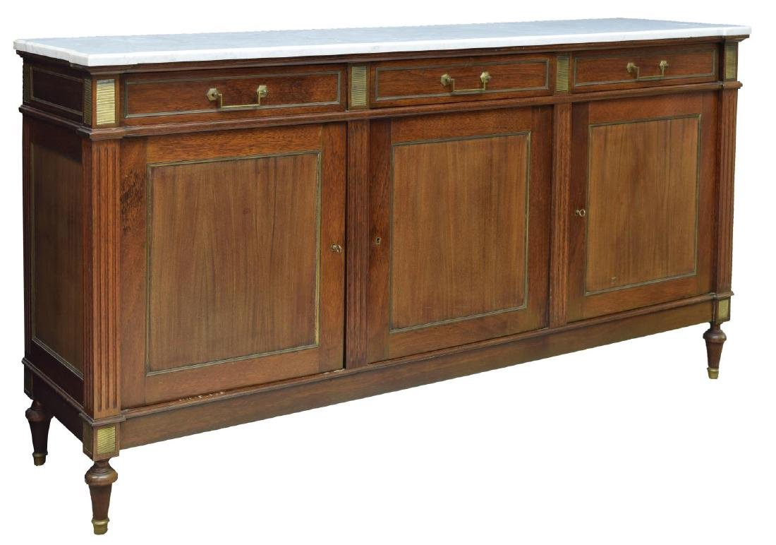 FRENCH LXV STYLE MAHOGANY MARBLE TOP SIDEBOARD