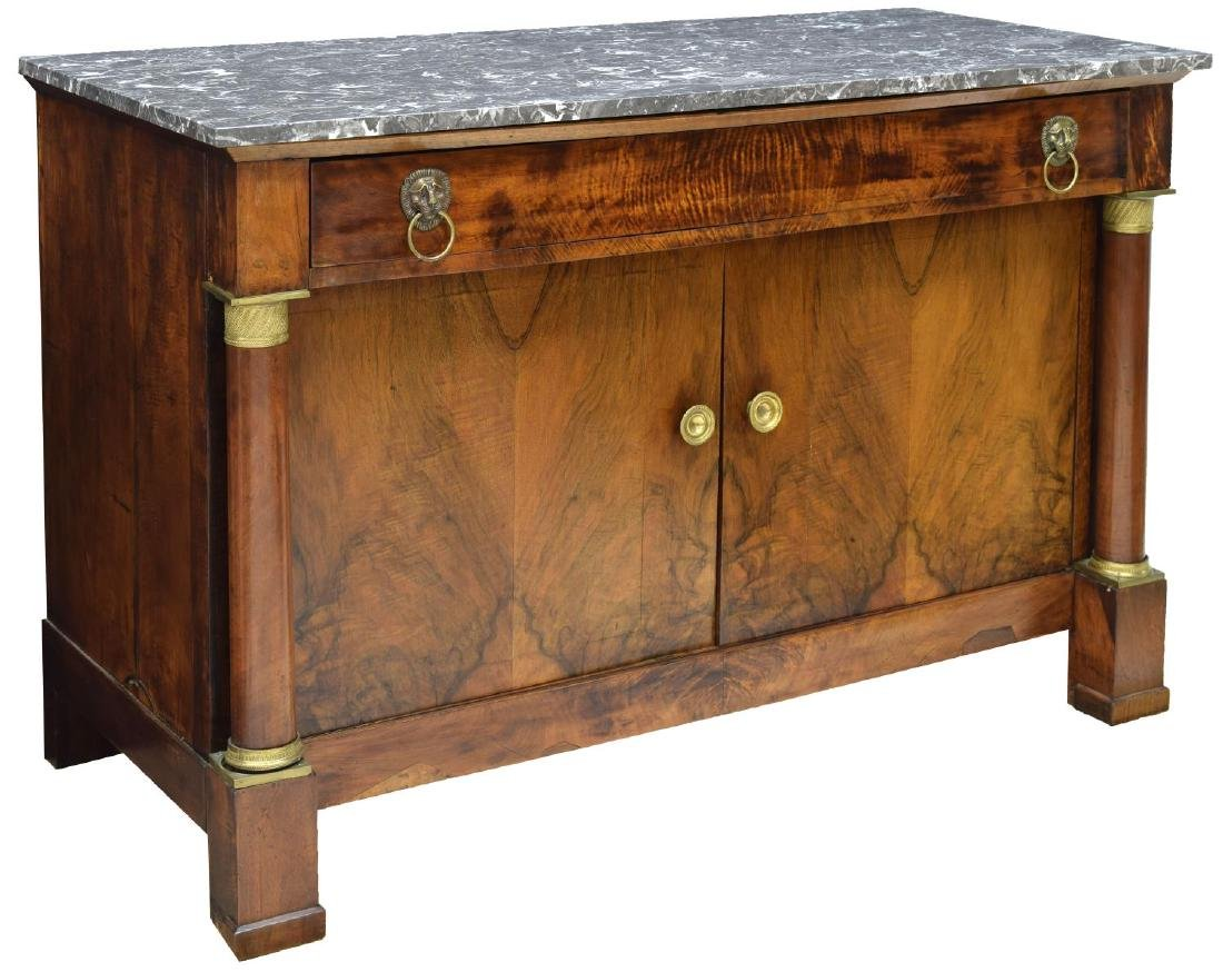FRENCH EMPIRE STYLE MARBLE-TOP BURL WALNUT BUFFET