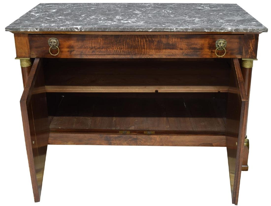 FRENCH EMPIRE STYLE MARBLE-TOP BURL WALNUT BUFFET - 2