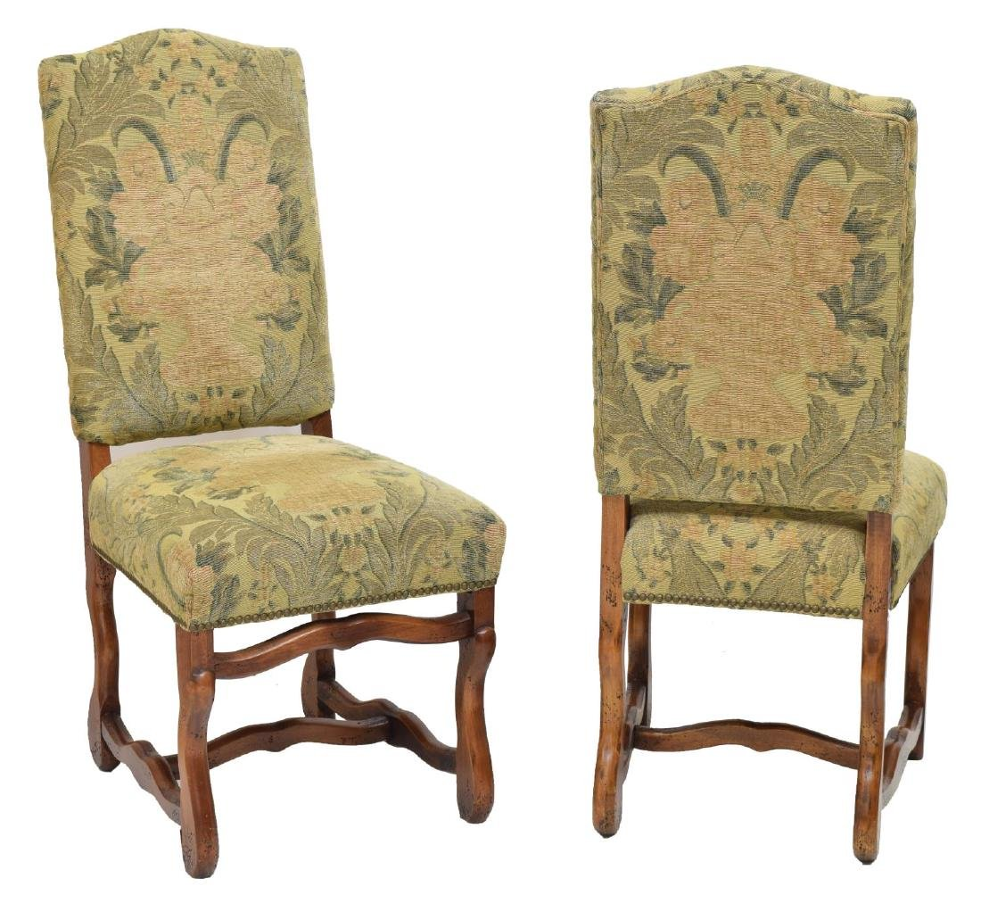 (6) LOUIS XIII STYLE UPHOLSTERED DINING CHAIRS - 2