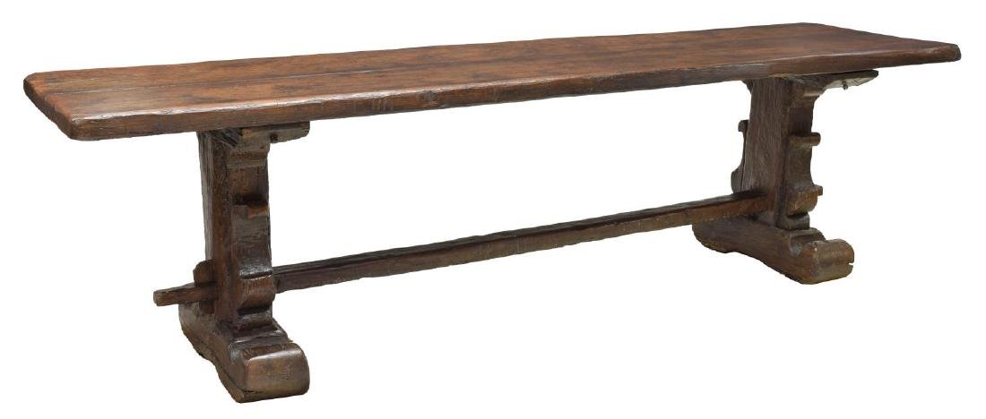 FINE ANTIQUE FRENCH WALNUT REFECTORY TABLE