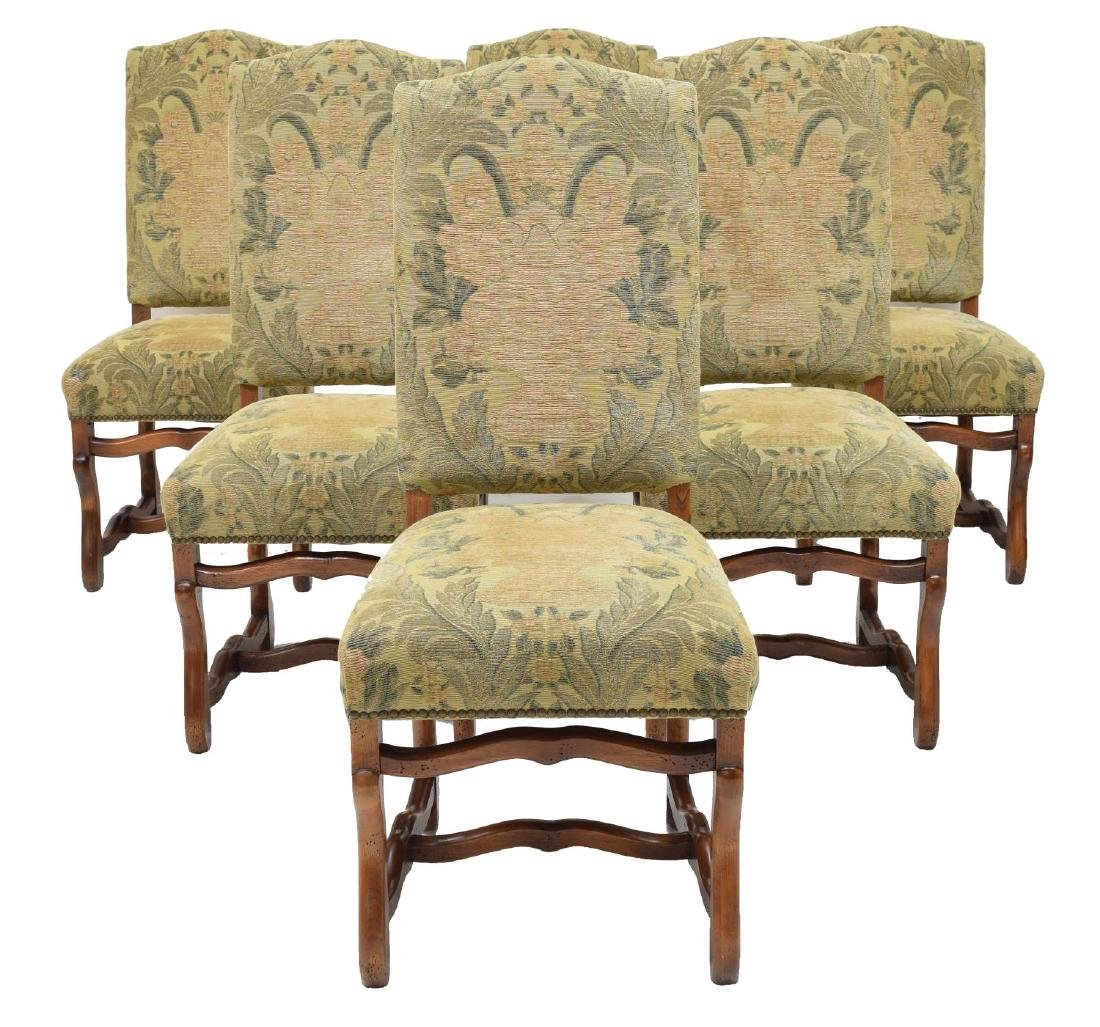 (6) LOUIS XIII STYLE UPHOLSTERED DINING CHAIRS