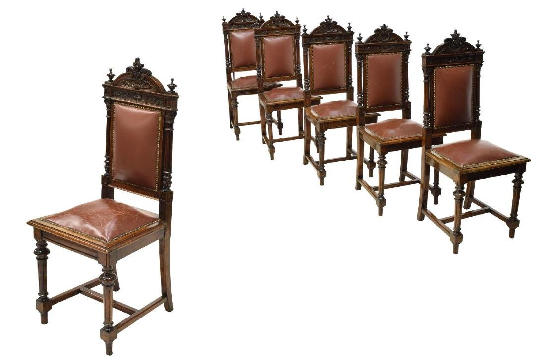 (6) ITALIAN CARVED WALNUT UPHOLSTERED DINING CHAIR