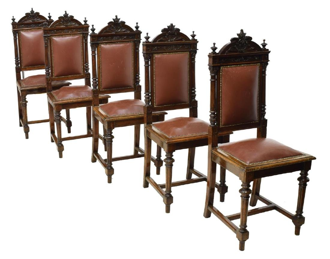 (6) ITALIAN CARVED WALNUT UPHOLSTERED DINING CHAIR - 2