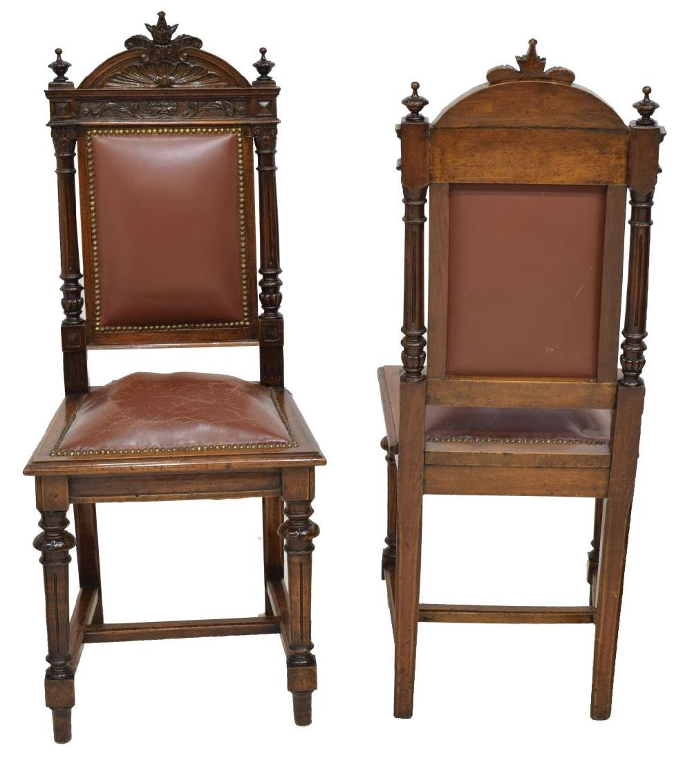 (6) ITALIAN CARVED WALNUT UPHOLSTERED DINING CHAIR - 3