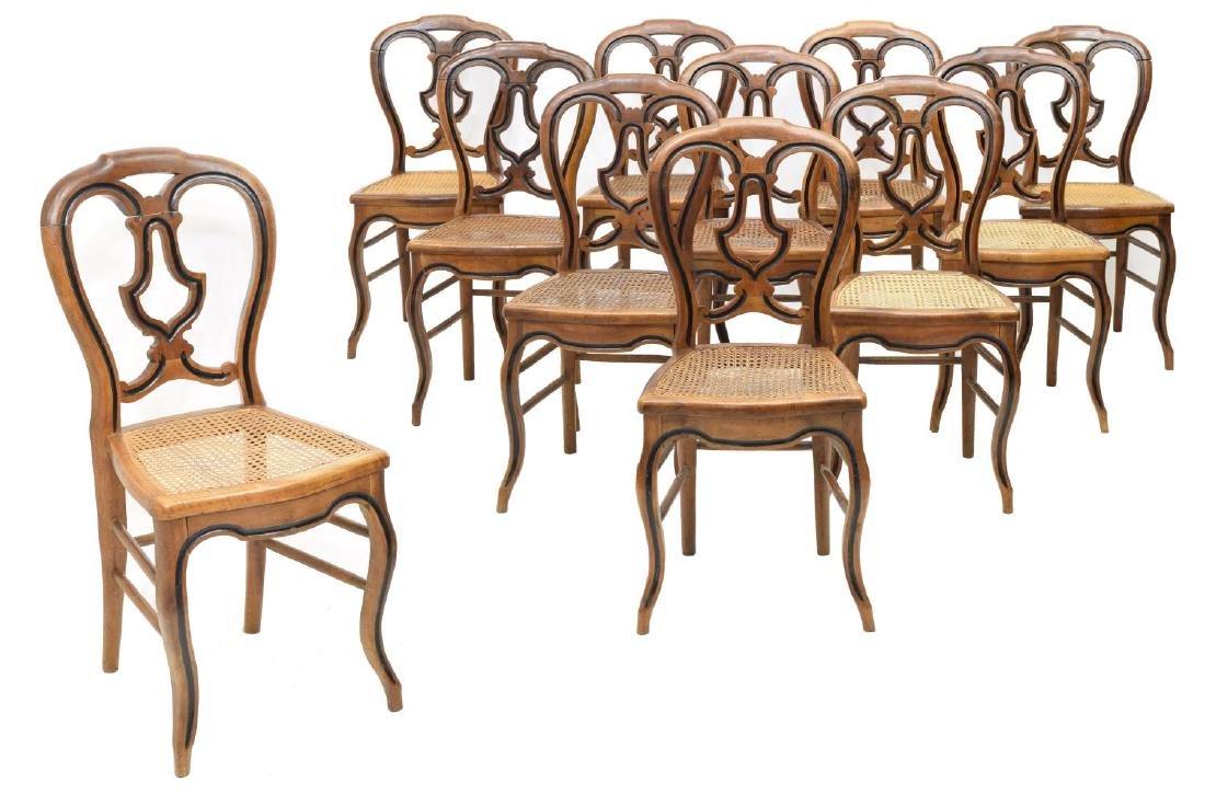 (11) LOUIS PHILLIPE EBONIZED CANE SIDE CHAIRS