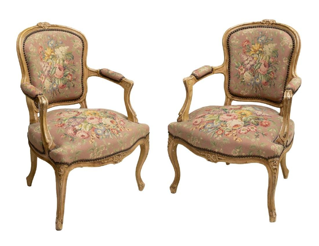 (2) FRENCH LOUIS XV STYLE TAPESTRY ARM CHAIRS