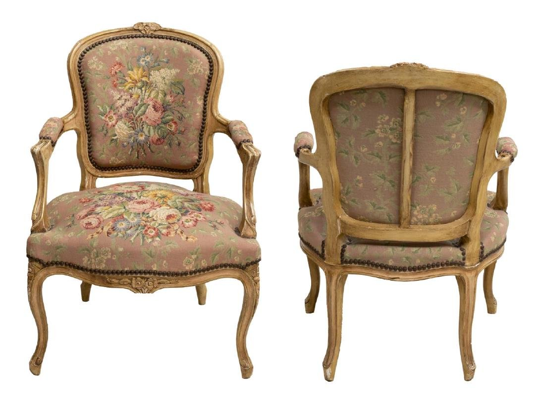 (2) FRENCH LOUIS XV STYLE TAPESTRY ARM CHAIRS - 2